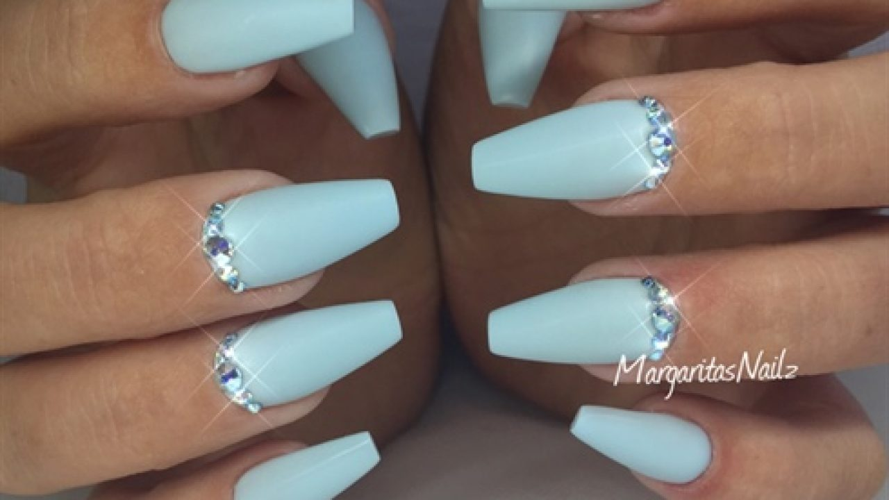 Baby blue nails coffin acrylic , New Expression Nails