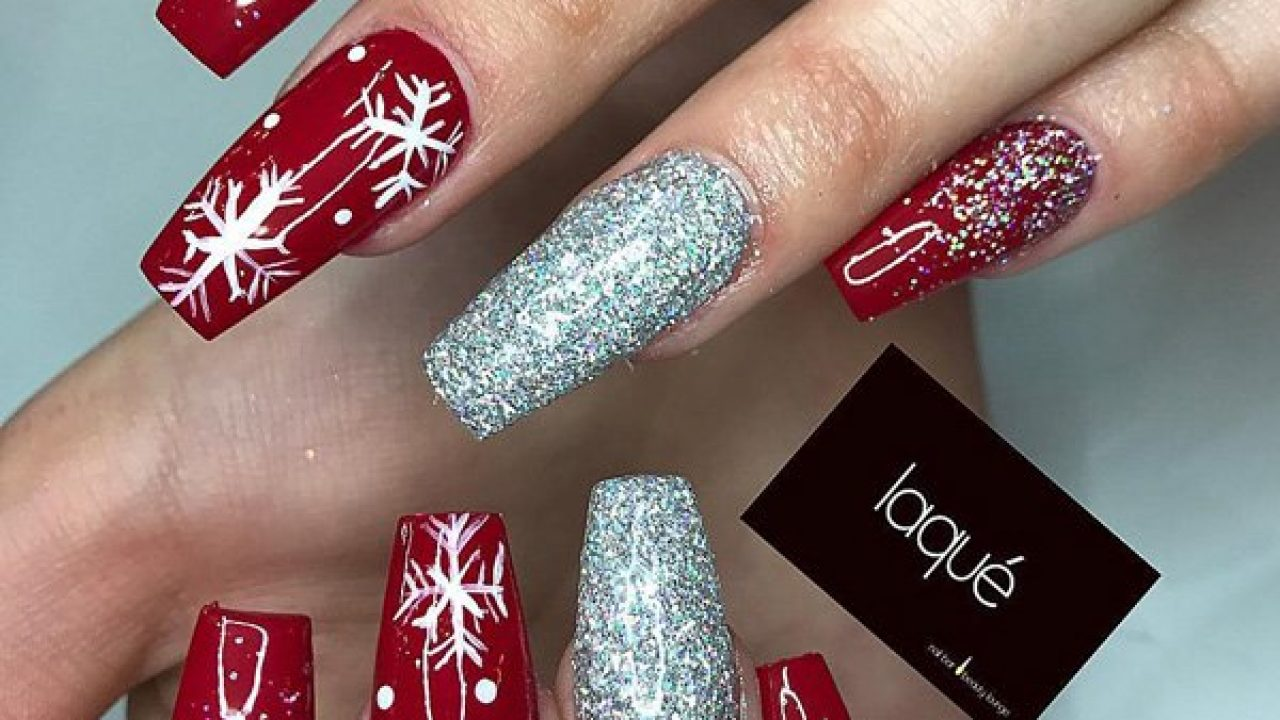 Christmas acrylic nails design coffin shape , New Expression