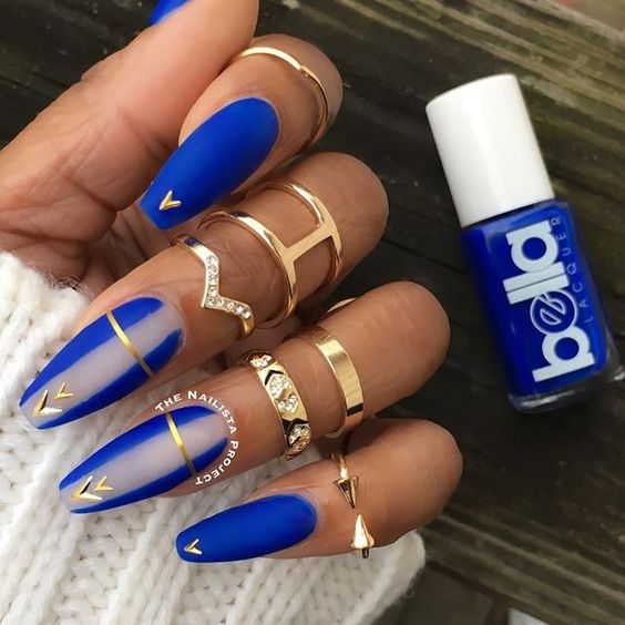 Coffin Nails With One Design Blue New Expression Nails