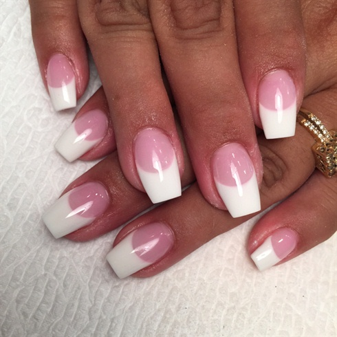 pink and white coffin nails  new expression nails