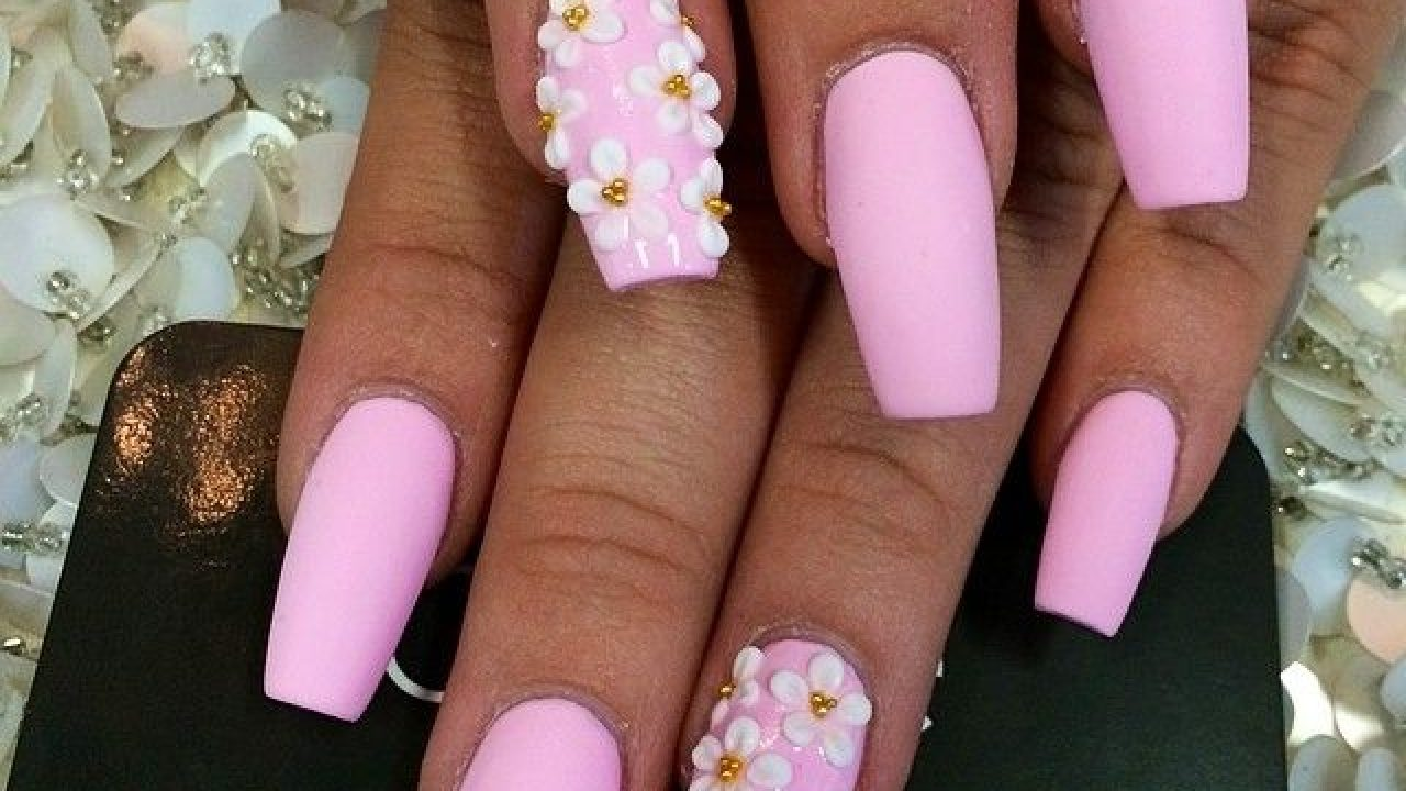 Pink coffin shaped nails , New Expression Nails