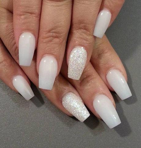 pretty white short coffin diamond nails  new expression nails