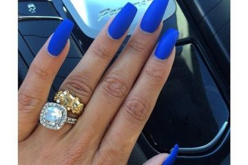 Royal Blue Matte Coffin Nails New Expression Nails