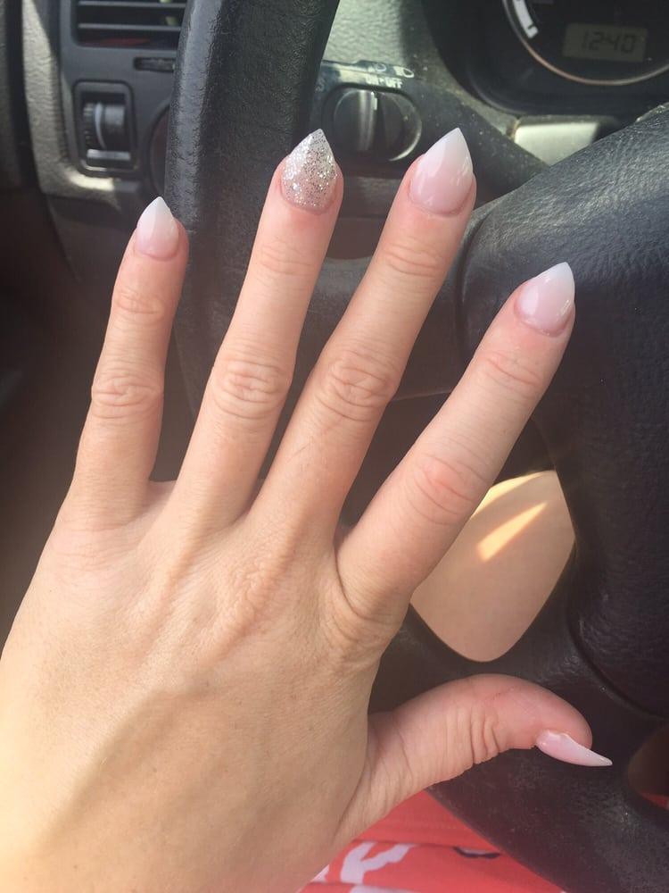Nail Powder: Short Neutral Acrylic Nails