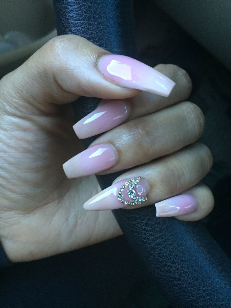 Light Pink Nails Acrylic Coffin