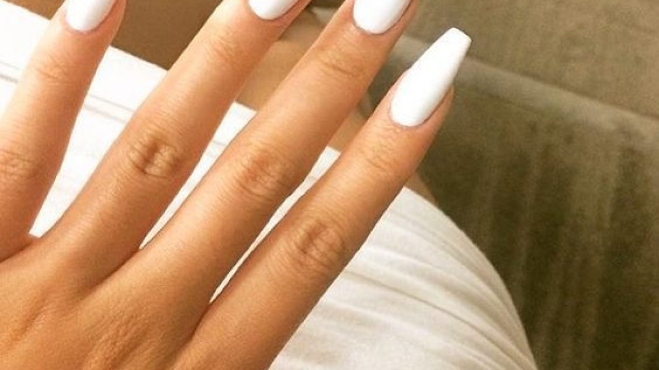 White acrylic coffin nails designs , New Expression Nails