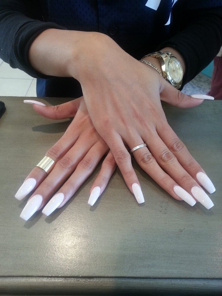 White Coffin Acrylic Nails New Expression Nails
