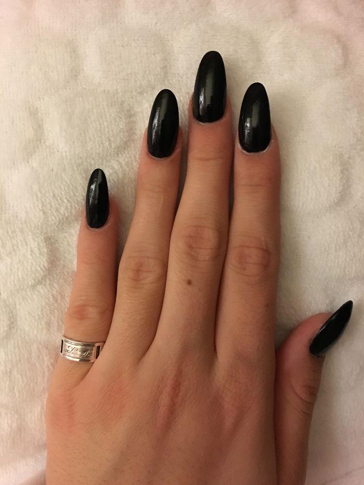 acrylic black nails photo - 2
