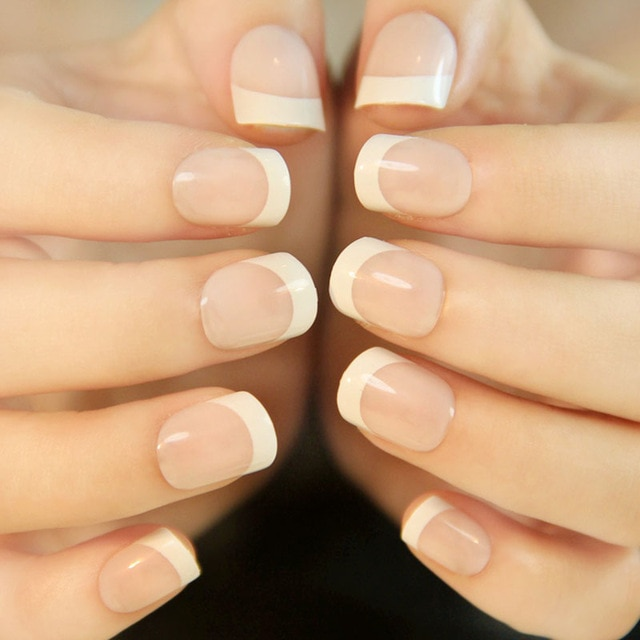 Acrylic french tips nails - Expression Nails