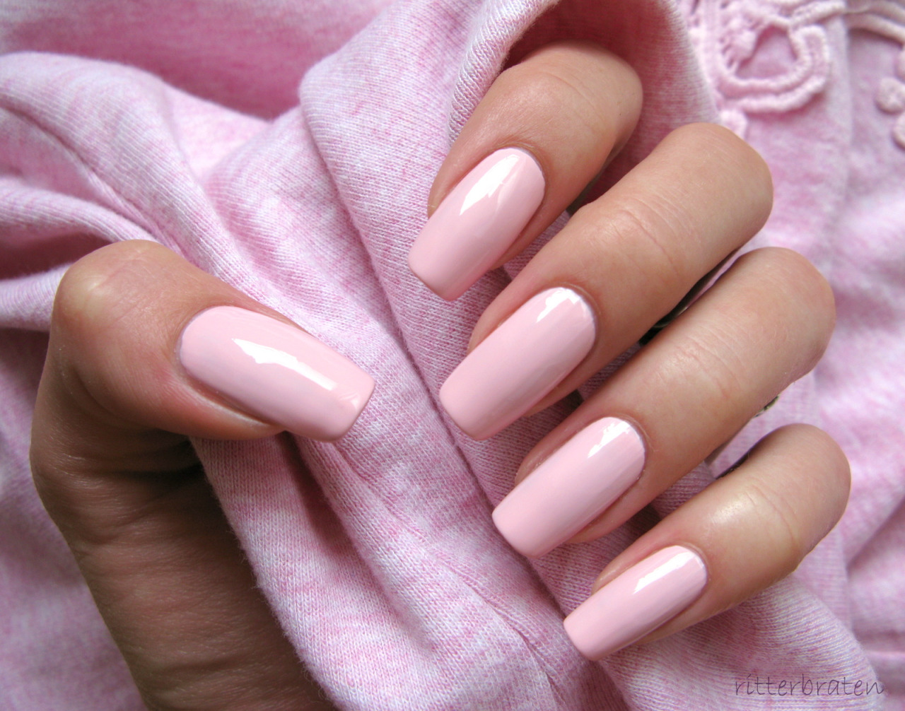 acrylic nails clear pink photo - 1