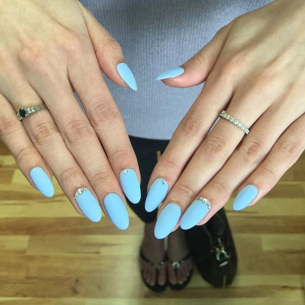 acrylic nails coffin blue photo - 1