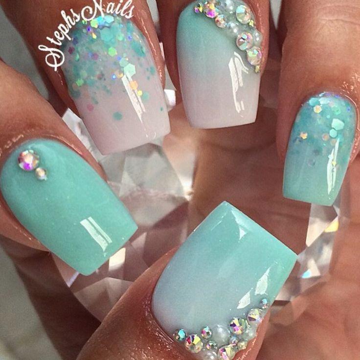 acrylic nails coffin blue photo - 2