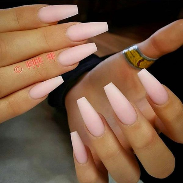 acrylic nails coffin ombre photo - 2