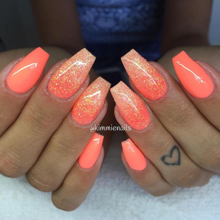 acrylic nails coral photo - 1