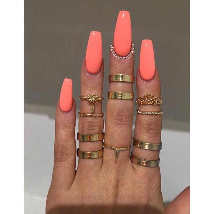acrylic nails coral photo - 2
