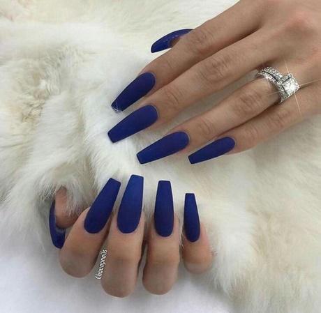 acrylic nails dark blue photo - 1