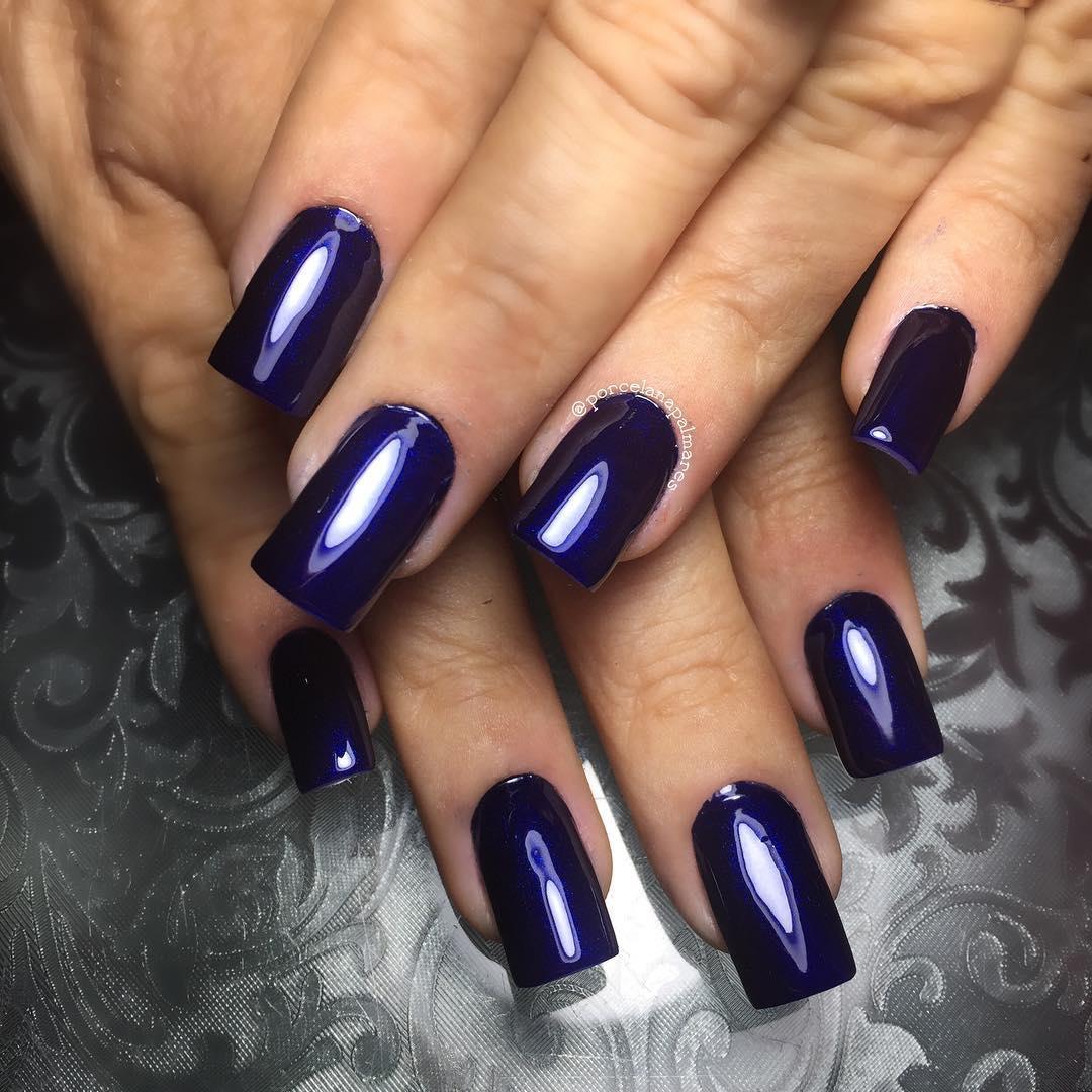 acrylic nails dark blue photo - 2