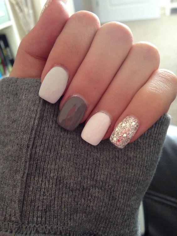 acrylic nails grey and glitter photo - 1
