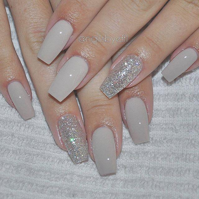 acrylic nails grey and glitter photo - 2