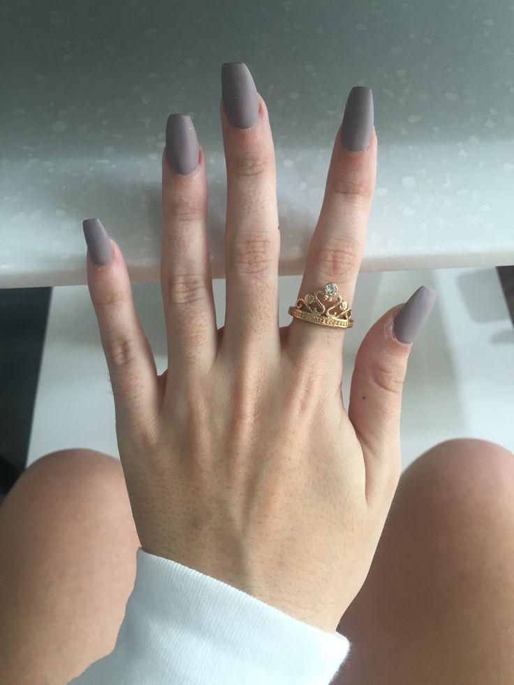 acrylic nails matte coffin photo - 1