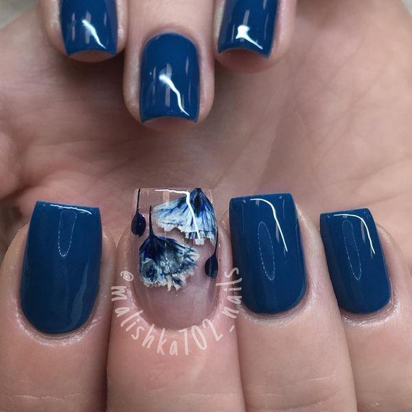 acrylic nails navy blue photo - 1