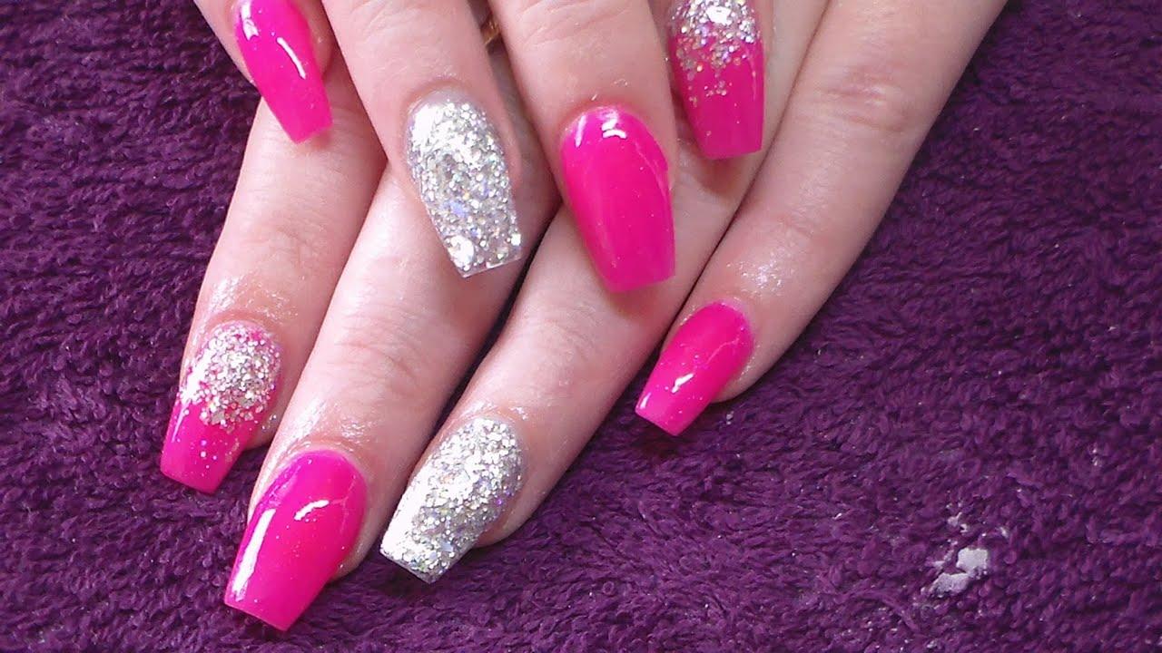 acrylic nails neon pink photo - 1