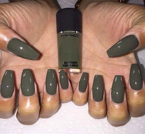 acrylic nails olive green photo - 2
