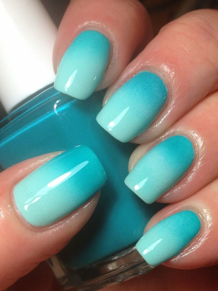 acrylic nails ombre blue photo - 2