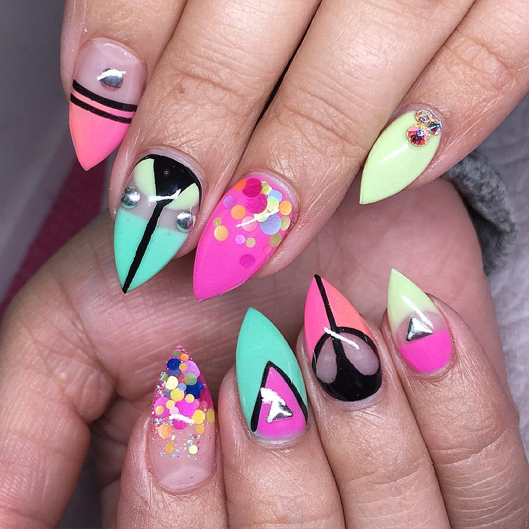 acrylic nails summer colours photo - 1