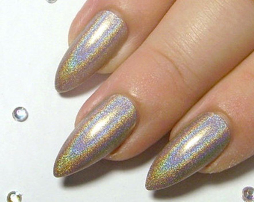 acrylic nails with chrome photo - 2