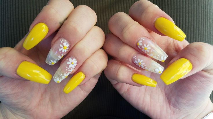acrylic nails with daisies photo - 1