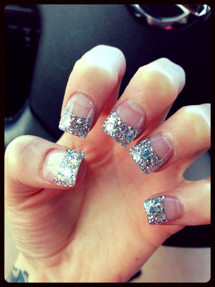 acrylic nails with glitter tips photo - 2