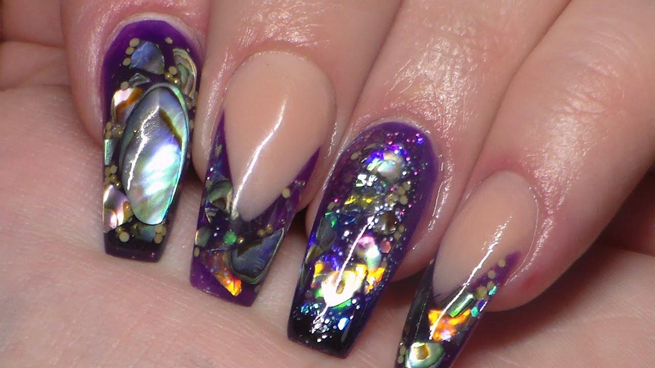 acrylic nails with nail art photo - 1