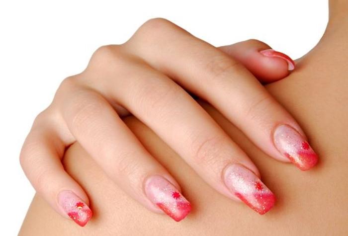 acrylic nails with normal polish photo - 1