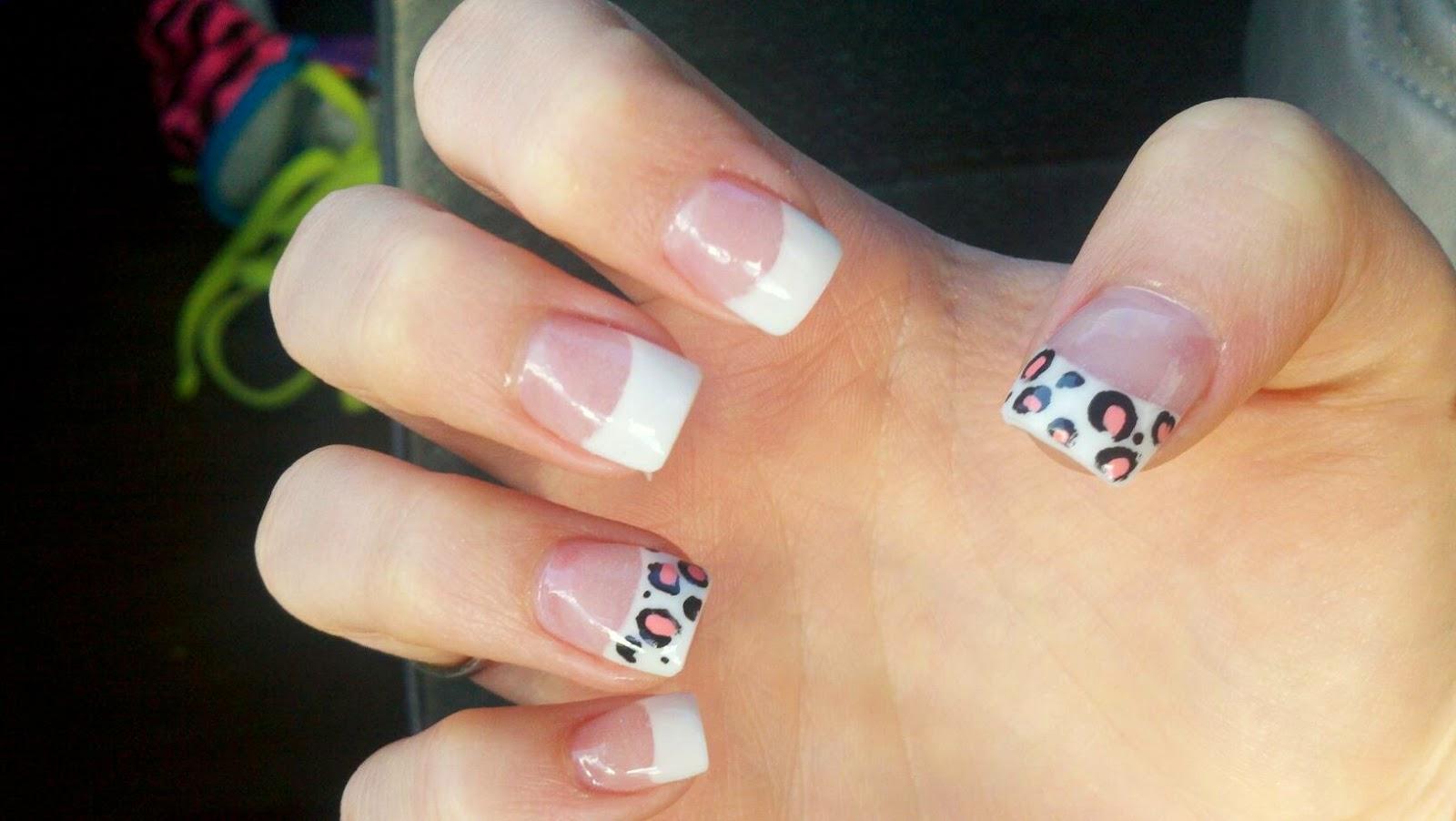 acrylic nails with normal polish photo - 2