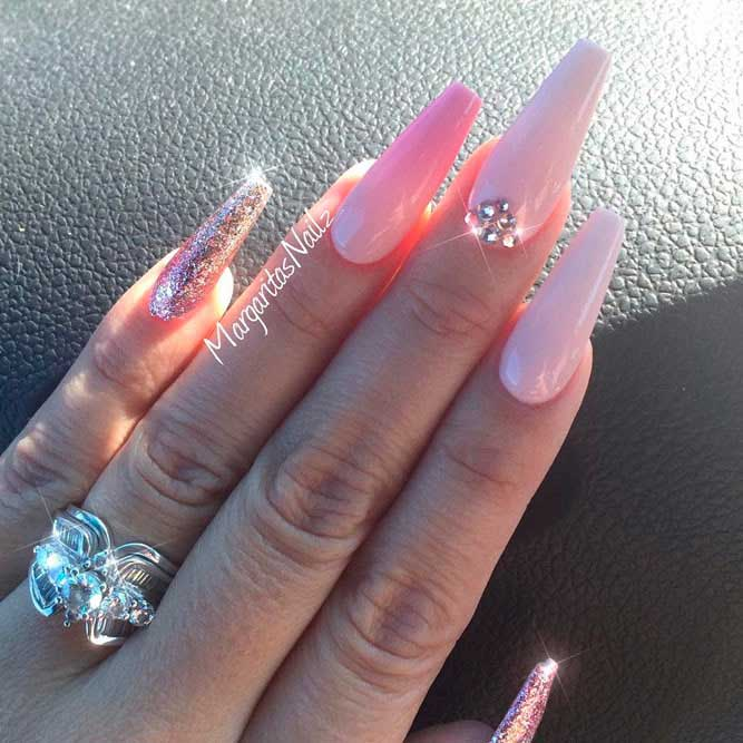 Outstanding Natural Acrylic Nails With Rhinestones Inspiration ...