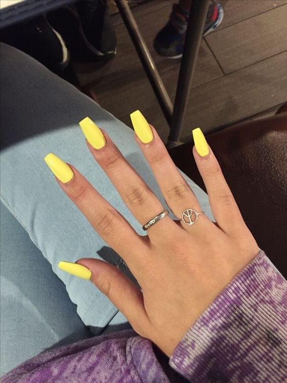 acrylic nails yellow coffin photo - 1
