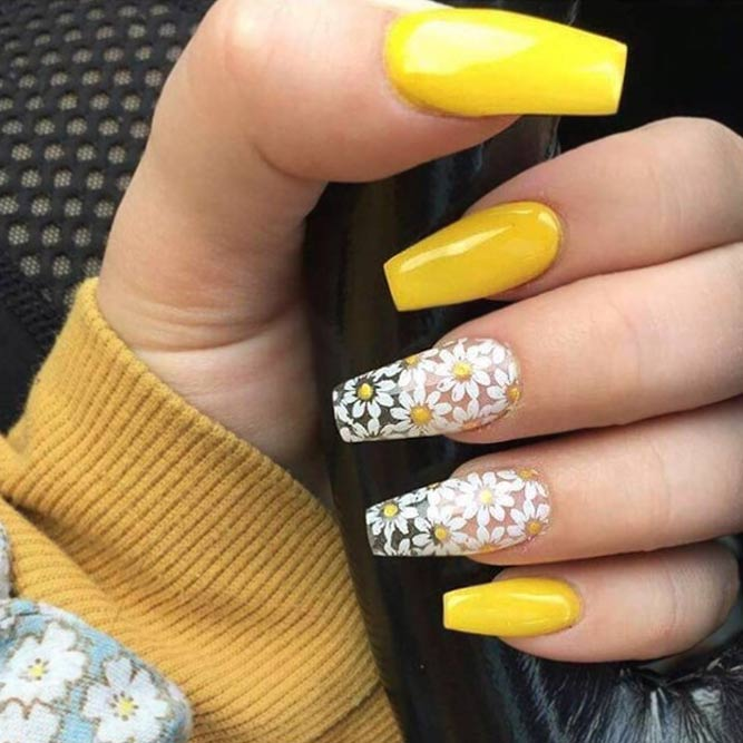 acrylic nails yellow coffin photo - 2