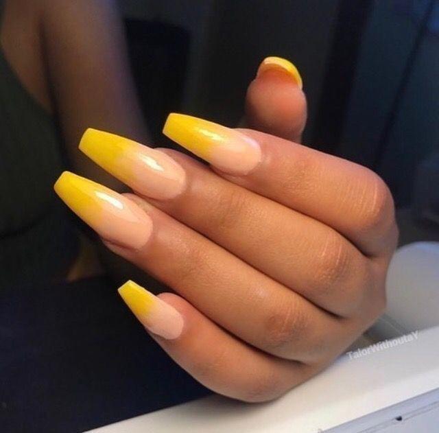 acrylic nails yellow ombre photo - 1