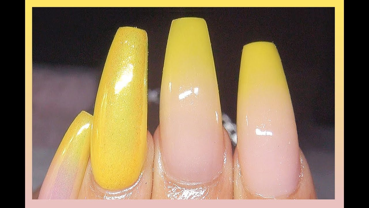 acrylic nails yellow ombre photo - 2