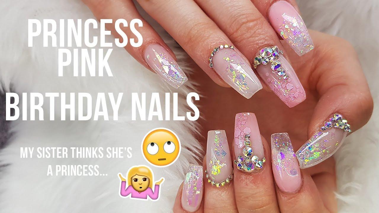 acrylic stiletto nails princess theme photo - 2