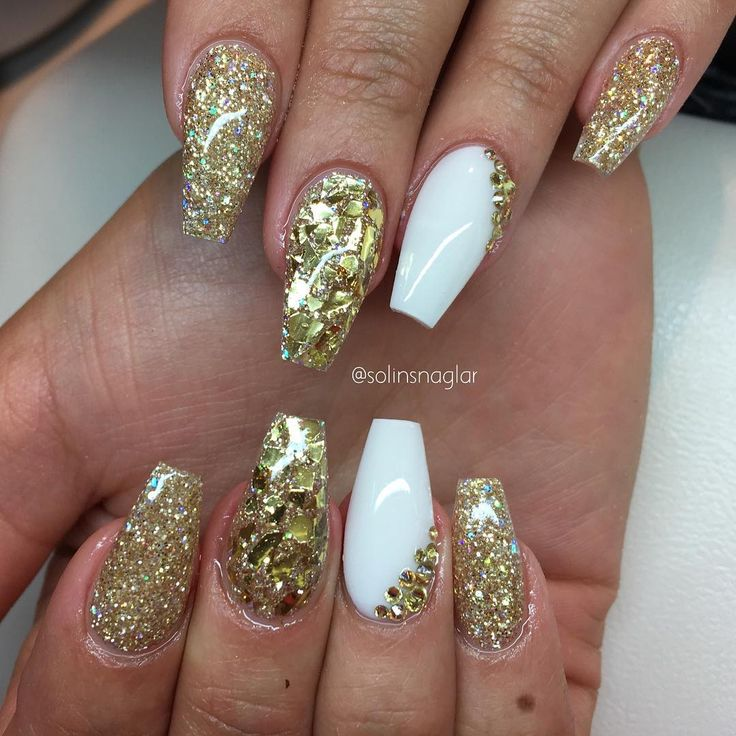 all white coffin nails with gold photo - 2