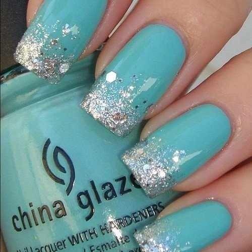 Aqua acrylic nails - Expression Nails