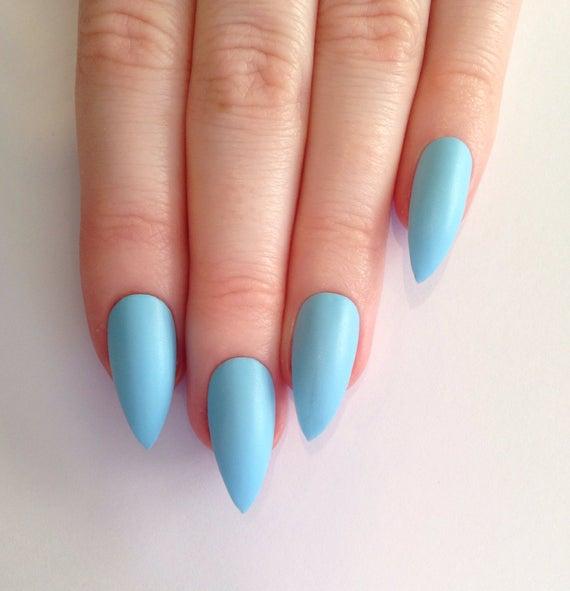 baby blue stiletto nails photo - 1