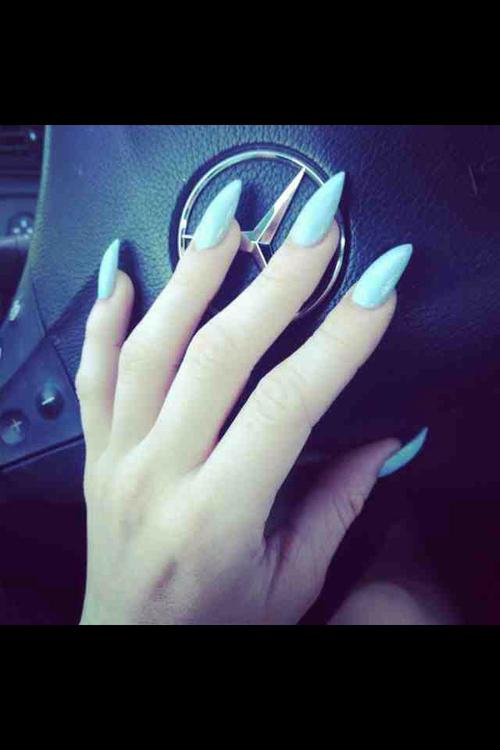 baby blue stiletto nails photo - 2