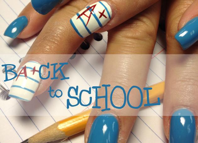 back to school acrylic nails photo - 2
