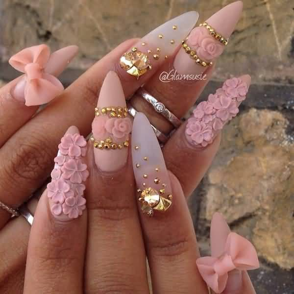 beautiful stiletto nails designs with flowers photo - 2