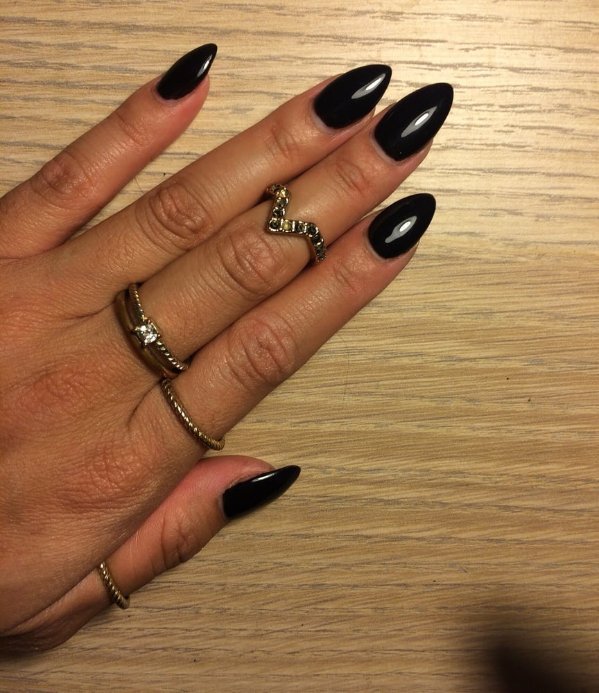 Black almond shape acrylic nails - New Expression Nails
