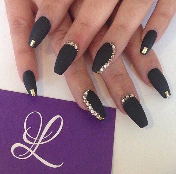 Black and gold nails coffin - Expression Nails