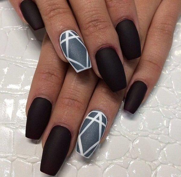 black and grey stiletto nails photo - 2